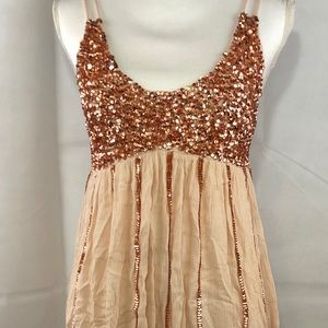 Intimately Free People Neutral Sequin Mini Dress